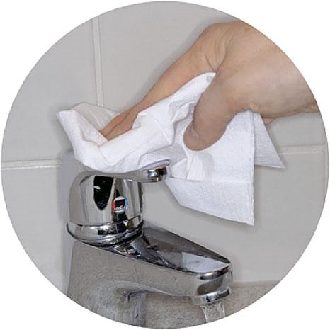 8. Закройте кран при помощи бумажной салфетки